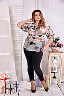 Женская летняя красивая блуза на лето с цветами 0544 размер 42-74