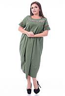Платье нарядное фисташковое в бисере и стразах с драпировкой