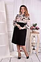Женское черное платье с цветным верхом 0581 размер 42-74 / больших размеров