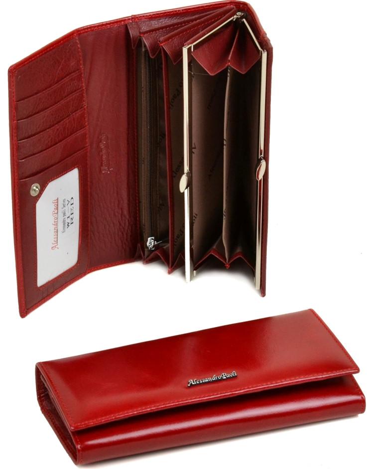 07d51eeeaede Классический женский кожаный кошелек Alessandro Paoli W1-V red Красный —  только ...