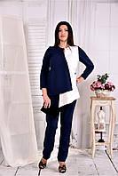 Женская нежная блуза из костюмки 0565 цвет синий с белым размер 42-74