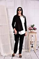 Женская нежная блуза из костюмки 0565 цвет черный с белым размер 42-74
