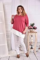 Женская туника с белой полоской цвет фрез 0563 размер 42-74