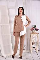 Женская нежная блуза из костюмки 0565 цвет бежевый размер 42-74