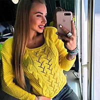 Женский свитер из шерсти с акрилом, кукурузка