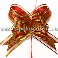 """(10шт) Бантик подарочный """"Лентяйка"""" с узором (органза+полипропилен) 9х13см Цвет - красный"""