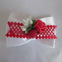Бант для волосся ручної роботи на резинці, 8 см біло червоний