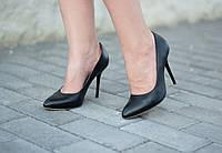 Туфли лодочки черные женские кожаные Anna Lucci на шпильке ( лето, весна, осень )