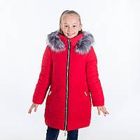 """Зимняя куртка для девочки """"Стелла """", красный, 122-146 рост"""