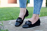 Туфли черные женские замшевые Anna Lucci на низком каблуке ( весна, лето, осень )