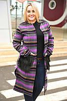Пальто-кардиган на поясе с меховыми карманами батал (4 расцветки)