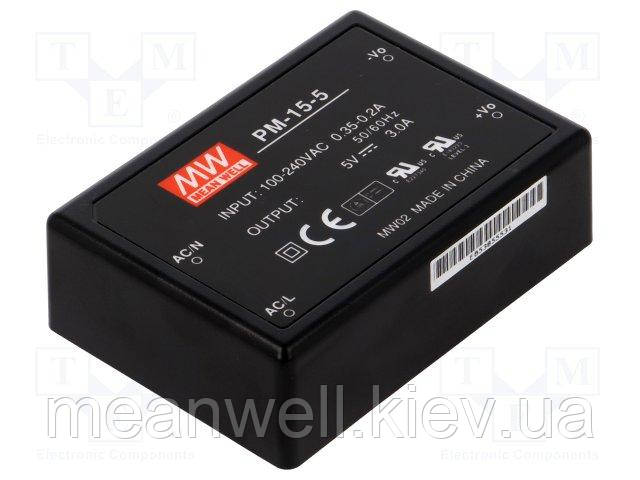 PM-10-15  Блок питания Mean Well  10.05 Вт, 15VDC, 670mA, герметичный, монтаж на плату