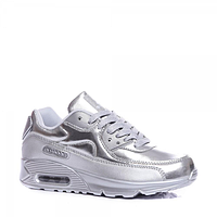 Женские серебристые кроссовки копия Nike Air Max 90, Найк Аир Макс 90