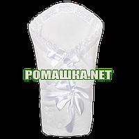 Ажурный весенний осенний конверт-одеяло на выписку 90х90  верх и подкладка хлопок 3062 Белый