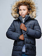 Стильная Зимняя Куртка для Мальчика Серая  Рост 116-168 см