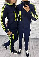 """Спортивный костюм """"adidas"""" с двойным капюшоном и прямыми штанами из серии """"ОН+ОНА"""", темно-синий"""