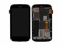 Дисплей (экран) для HTC T328e Desire X + с сенсором (тачскрином) и рамкой черный Оригинал