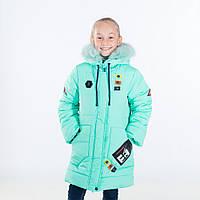 """Зимняя куртка для девочки """"Тамара """", мята, 116-146 рост"""