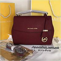 Женская сумка, клатч Майкл Корс Ava цвет марсал кожаная, Люкс копия
