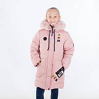 """Зимняя куртка для девочки """"Тамара """", пудра, 116-146 рост"""
