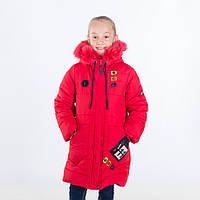 """Зимняя куртка для девочки """"Тамара """", красный, 116-146 рост"""