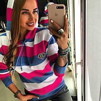 Женский свитер с капюшоном в полоску