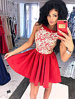 Платье спина капелька, юбка-клеш, декольте украшено гипюром.