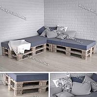 Угловой диван из поддонов, деревянная мебель из европаллет для дачи