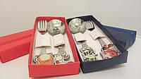 Детская кухонная посуда набор столовых приборов с гравировкой рисунка на ложке вилке