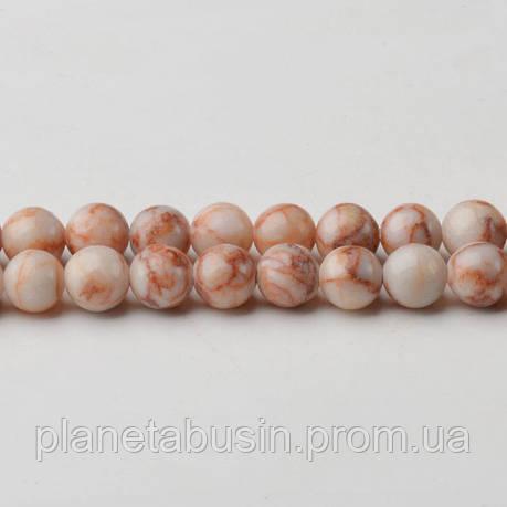 8 мм Яшма Красные Вены, CN308, Натуральный камень, Форма: Шар, Отверстие: 1мм, кол-во: 47-48 шт/нить, фото 2