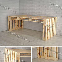 Деревянный стол из паллет, мебель из ящиков и поддонов для дачи и кафе