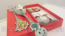 Детский подарочный набор посуды именная ложка на день рождения