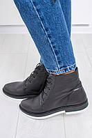 Женские кожаные осенние ботинки на шнуровки из натуральной кожи