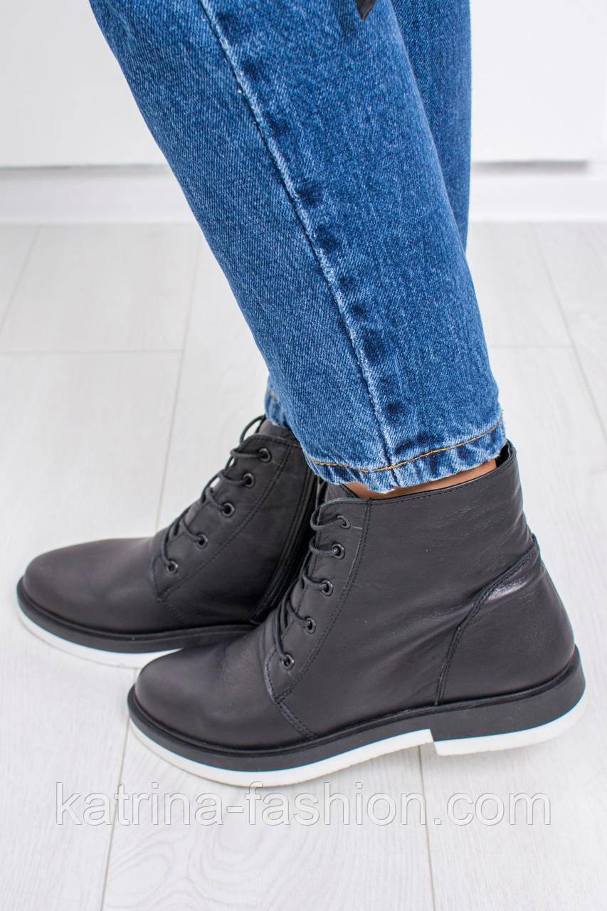 3028f9b8c767 Женские кожаные осенние ботинки на шнуровки из натуральной кожи