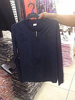 Женская кофта на замке темно синего цвета, размеры S M L