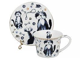 """Фарфоровый чайный набор на 6 персон """"Коты"""" Lefard 924-046"""