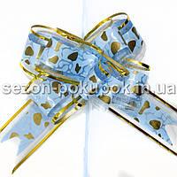 """(10шт) Бантик подарочный """"Лентяйка"""" с узором (органза+полипропилен) 9х13см Цвет - голубой"""