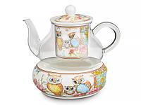 """Фарфоровый заварочный чайник """"Совы"""" 400 мл на подставке Lefard 924-094"""