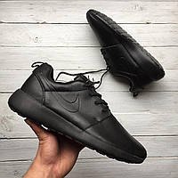 Кроссовки Nike Roshe Run black leather  replica AAA