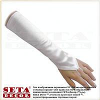 Белые длинные свадебные атласные перчатки митенки с петелькой на палец