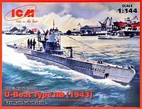 1:144 Сборная модель подводной лодки U-boat Type IIB (1943 г.), ICM S.010
