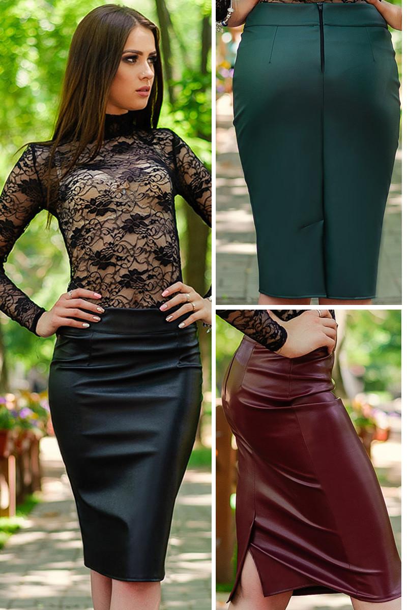 Кожаные юбки Булгари экокожа