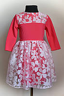 Детское платье малинового цвета 128 размер