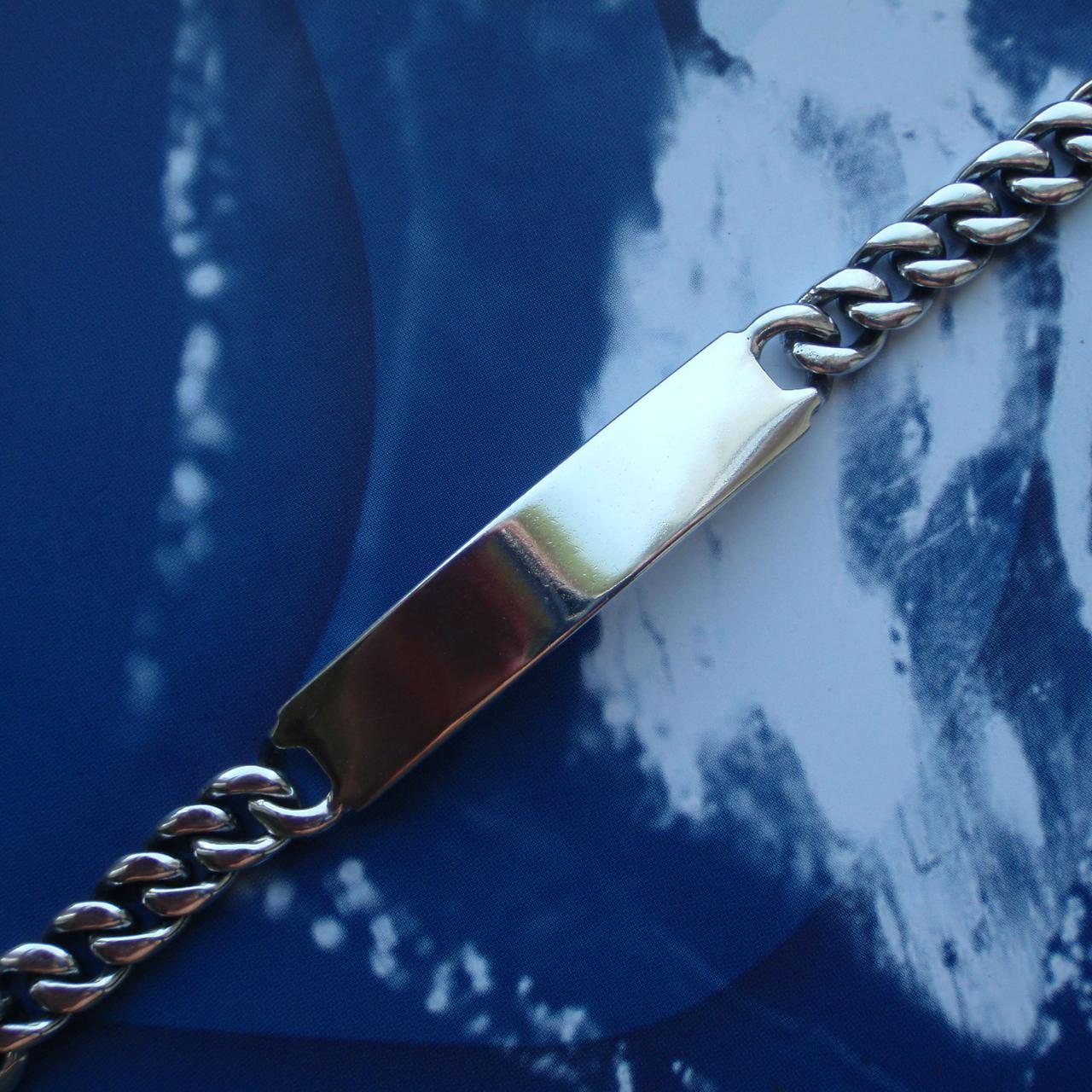 Серебряный мужской браслет, 210мм, 33 грамма, с пластиной для гравировки