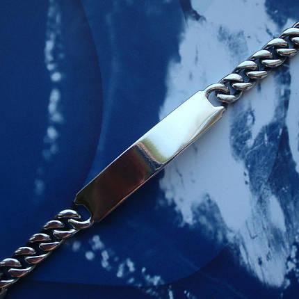 Серебряный мужской браслет, 210мм, 33 грамма, с пластиной для гравировки, фото 2