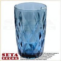 Стакан из цветного стекла синий декоративный