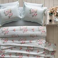 Комплект постільної білизни Tivolyo Home Rose Hill сатин 220-200 см зелений, фото 1