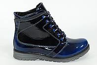 Женские зимние кожаные ботинки с натуральным мехом. Синий