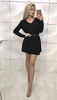 Расклешенное свободное красивое чёрное ангоровое платье с поясом, фото 1