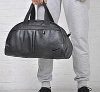 Спортивная черная сумка Nike кожзам Черная вышивка